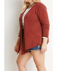 Forever 21 - Red Plus Size Draped Open-front Cardigan You've Been Added To The Waitlist - Lyst