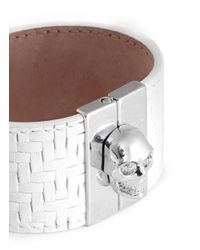 Alexander McQueen | White Skull Clasp Tatami Embossed Wide Leather Bracelet | Lyst
