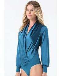 Bebe | Blue Silk Wrap Bodysuit | Lyst