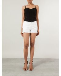 T By Alexander Wang - White Burlap Cut Off Shorts - Lyst