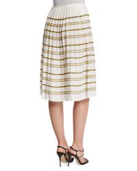 Oscar de la Renta - White Zigzag Striped Pleated Skirt - Lyst