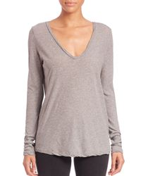 James Perse | Gray Long-sleeve Jersey Top | Lyst