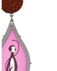 Anna E Alex - Pink Seduzione Deco Silver Monkey Earrings - Lyst