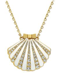 kate spade new york | Metallic 12K Gold-Plated White Crystal Shell Locket Pendant Necklace | Lyst
