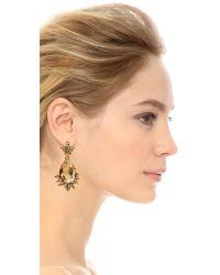 Oscar de la Renta Metallic Crystal Earrings - Cry Gold Shadow