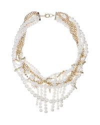 """Sam Edelman - White Faux Pearl and Chain Statement Necklace, 16"""" - Lyst"""