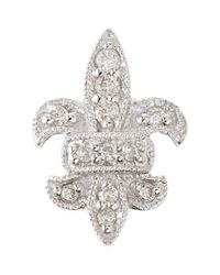 Sydney Evan - Metallic 14k Fleur-de-lis Single Stud Earring With Diamonds - Lyst