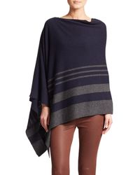 Saks Fifth Avenue | Blue Striped Cashmere Poncho | Lyst