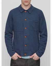 Jigsaw Blue Cotton Linen Trucker Jacket for men