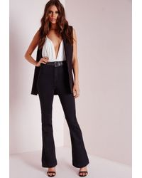 Missguided Vice Super Stretch High Waisted Flare Jeans Black