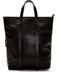 CoSTUME NATIONAL - Black Grained Leather Convertible Backpack Tote for Men - Lyst