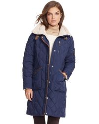 Lauren by Ralph Lauren Blue Faux Shearling Trim Quilted Down & Feather Fill Coat