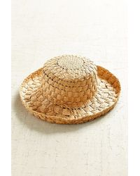 Urban Outfitters - Natural Textured Straw Turned Up Sun Hat - Lyst