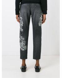 Amen - Gray Beaded Cropped Jeans - Lyst