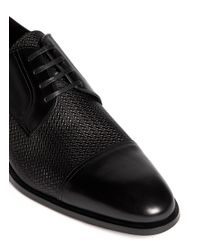 Canali - Black Embossed Leather Derbies for Men - Lyst