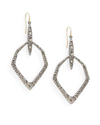 Alexis Bittar - Metallic Miss Havisham Kinetic Gun Swarovski Crystal Hexagon Drop Earrings/silvertone - Lyst