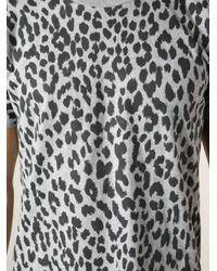 Saint Laurent Gray Leopard Print Tshirt for men