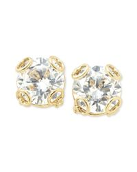 Fossil - Metallic Goldtone Crystal Stud Earrings - Lyst