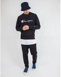Champion - Black Reverse-Weave Cotton-Blend Sweatshirt for Men - Lyst