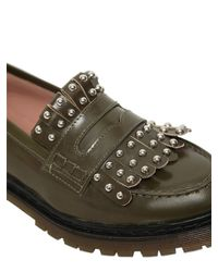 RED Valentino Natural 20mm Studded Fringed Leather Loafers