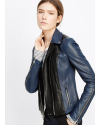 Vince Black Colorblocked Leather Moto Jacket