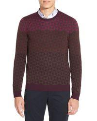 Ted Baker Purple 'zano' Geo Print Crewneck Sweater for men