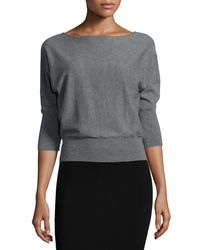 MILLY - Gray 3/4-dolman-sleeve Pullover Top - Lyst