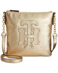 Tommy Hilfiger | Metallic Pebbled Leather Flap Crossbody | Lyst