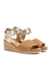 A.P.C. Brown Joanna Suede and Metallic-Leather Wedges