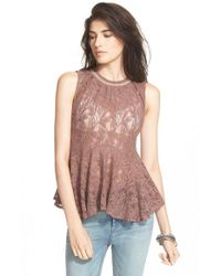 Free People | Red 'masie' Lace Tank | Lyst