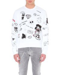 DSquared² White Mixed Graphic Sweat Shirt for men