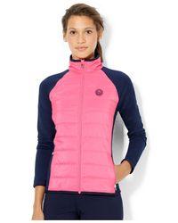 Lauren by Ralph Lauren Pink Color-Block Quilted-Front Active Jacket