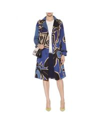 Burberry Prorsum Blue Printed Cotton Trench Coat