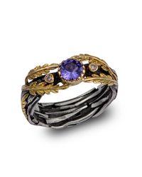 Emma Chapman Jewels - Metallic Lattice Tanzanite And Diamond Gold Ring - Lyst