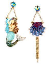 Betsey Johnson | Multicolor Gold-Tone Mermaid & Seashell Mismatch Drop Earrings | Lyst