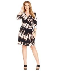 Calvin Klein | Black Plus Size Printed Faux-wrap Dress | Lyst
