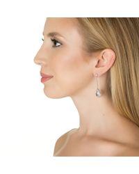 Kenneth Jay Lane | Metallic Linear Pear Pave Frame Earrings | Lyst