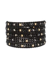 Chan Luu - Black Onyx, Sterling Silver And Leather Beaded Wrap Bracelet - Lyst