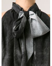 Barbara Bui - Gray Tie Neck Blouse - Lyst