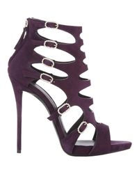 Giuseppe Zanotti | Purple Crystal Buckle Cutout Sandals | Lyst