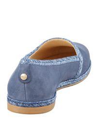 Stuart Weitzman Tipadrille Mirrortipped Espadrille Flat Blue Jean
