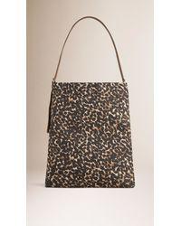 Burberry - Brown Animal-Print Cotton Shoulder Bag - Lyst