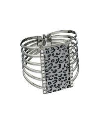Guess - Gray Leopard Hinge Cuff Bracelet - Lyst