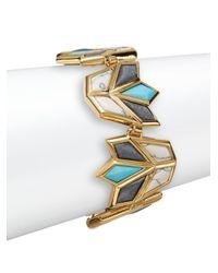 Lele Sadoughi | Multicolor Egyptian Deco Howlite, Marble & 14k Goldplated Lotus Bracelet | Lyst