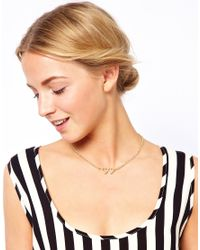 ASOS - Metallic Double Heart Charm Pendant Necklace - Lyst