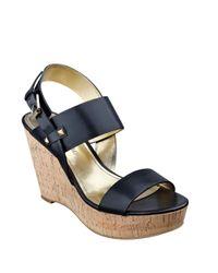 Ivanka Trump Black Gareno Leather Platform Wedge Sandals