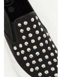 Missguided - Black Studded Slip On Skater Pump - Lyst