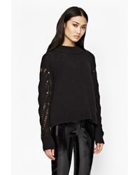 French Connection | Black Kora Laddered Sleeves Jumper | Lyst