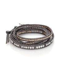 Chan Luu | Gray White Opal, Clear Quartz, Howlite & Leather Multi-row Beaded Wrap Bracelet | Lyst