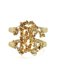 Roberto Cavalli | Metallic Signature Golden Bangle W/Crystals | Lyst